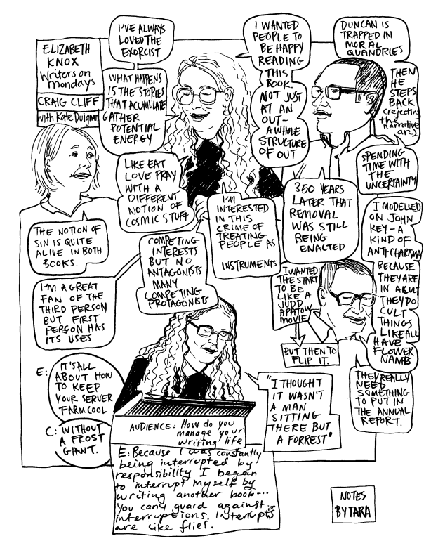 Drawing/comic of Elizabeth Knox and Craig Cliff, chaired by Kate Duignan, at Te Papa for the 2019 IIML Writers on Mondays series.