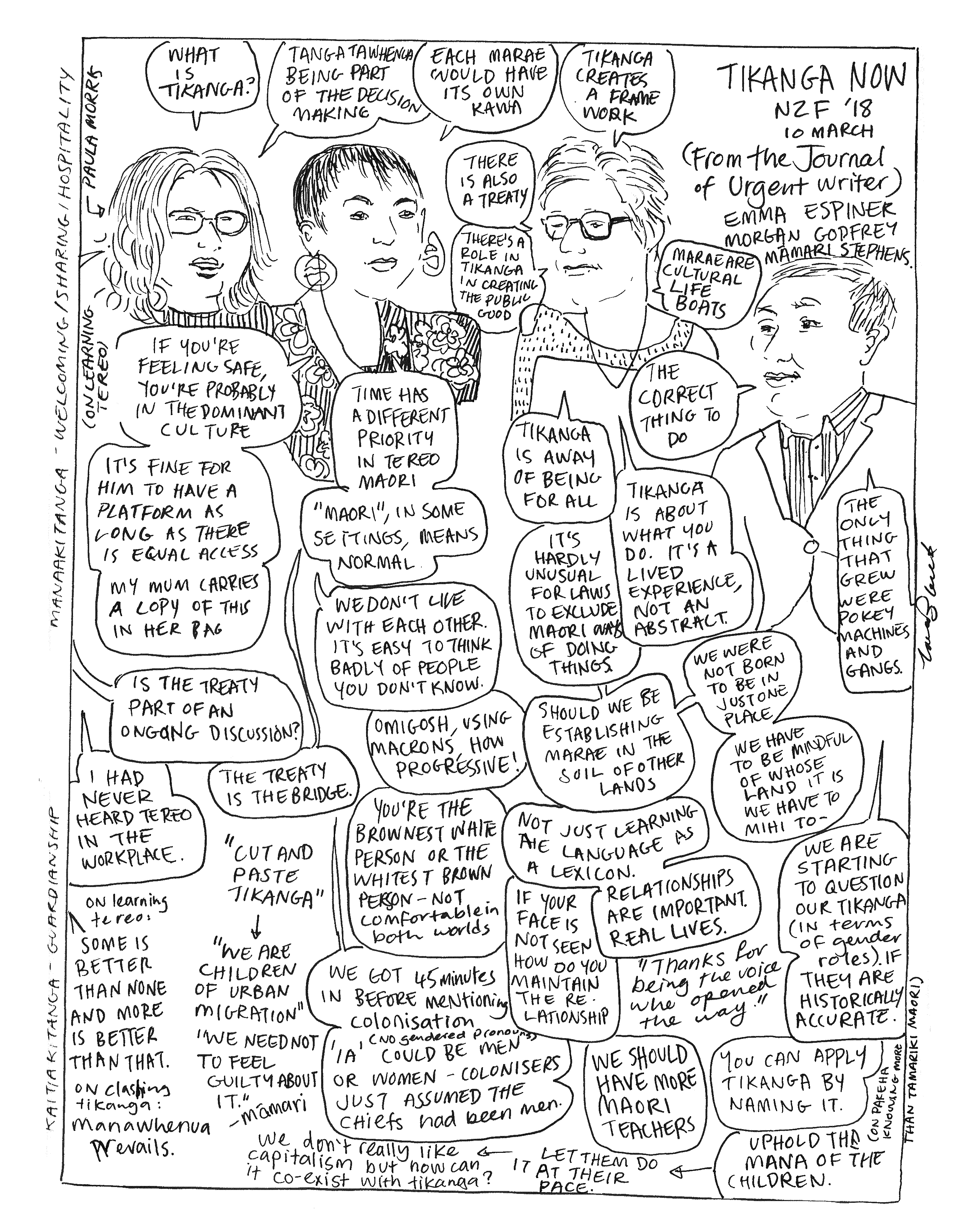 Drawing/comic of Emma Espiner, Morgan Godfrey and Mamari Stephens in discussion with Paula Morris at NZWF 2018.