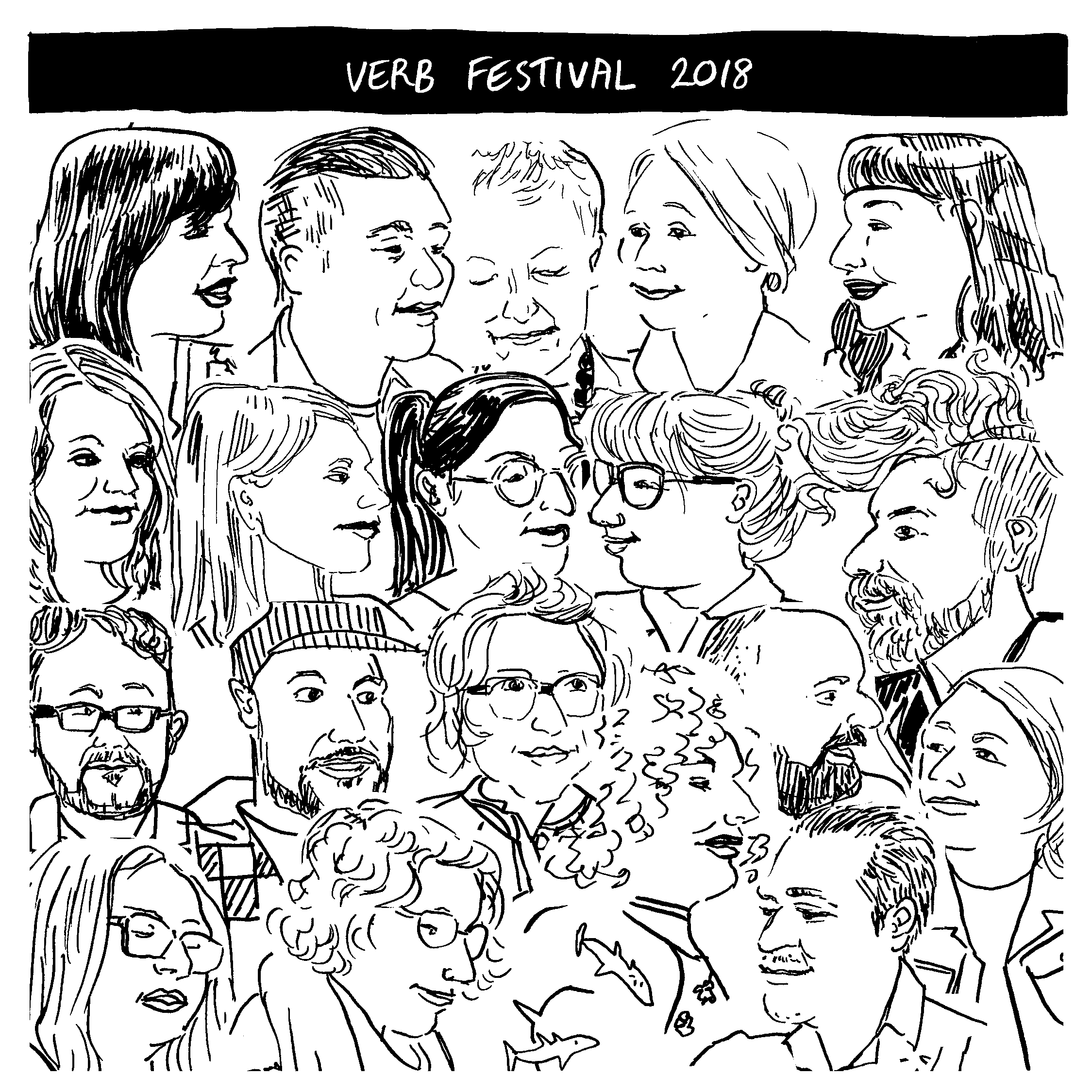 Collage of Tara Black's drawings, made live at Verb Festival 2018