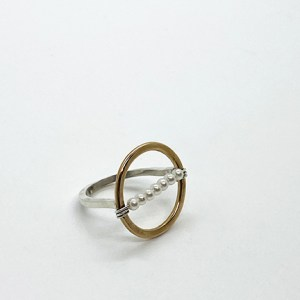 Gold and Sterling Silver Pearl Circle Ring