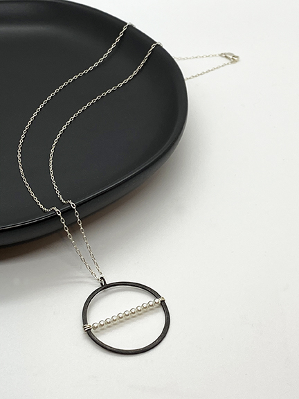 Black silver circle pendant necklace
