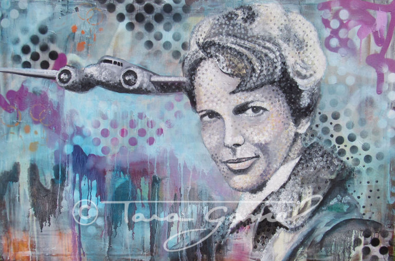 "This art is an original oil on canvas. Contains vintage aircraft, halftone dots, paint drips, blue, light blue, pink, magenta, black, Amelia Earhart, bomber jacket, orange. This original oil painting is 36"" wide by 24"" tall. Perfect for your home our office decor."