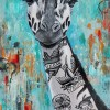 Giraffe with Vegan tattoos on his neck over a distressed abstract background. Vegan. Brock N' Roll. Vegan to the Core. Shrub Life.