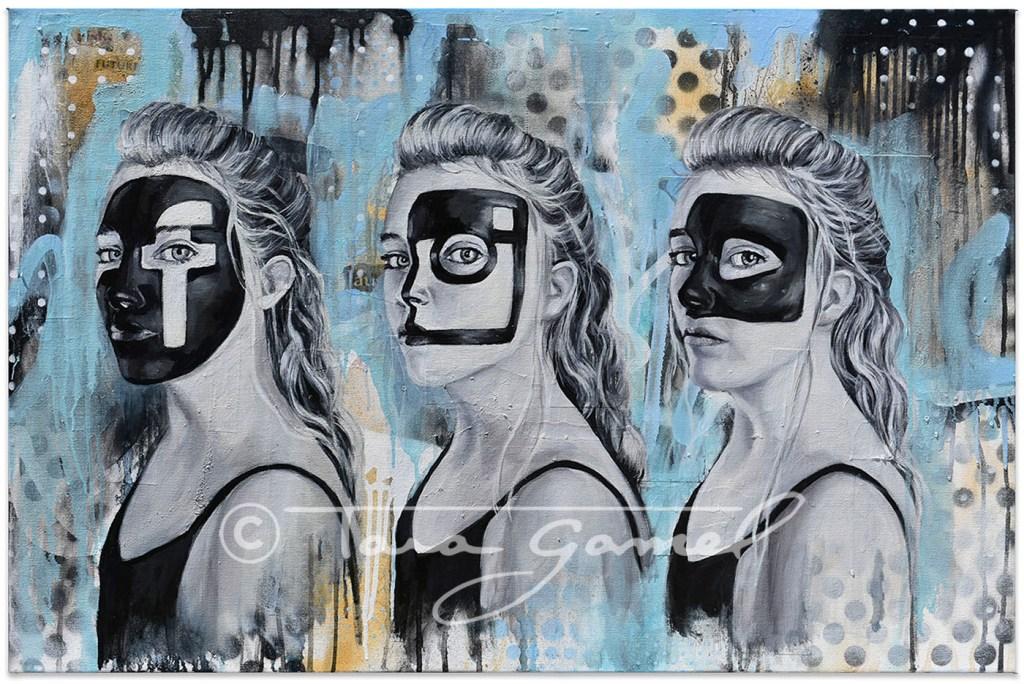 Social Masquerade 36x24 Oil on Canvas. Pop art with a social media theme