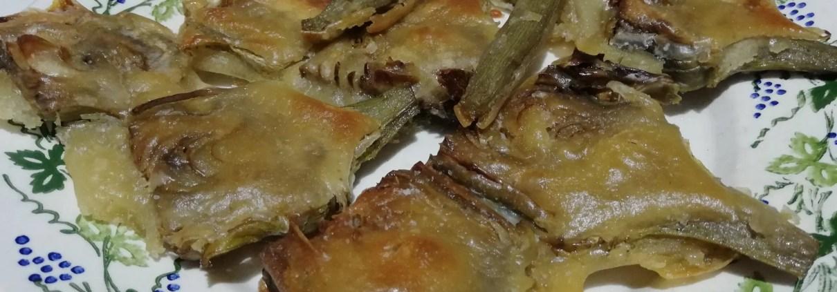 Carciofi romaneschi pastellati al forno