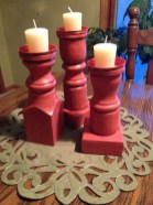 Spindles upcycled into candle holders