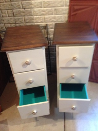 desk to nightstands with painted drawers