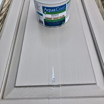 white cabinet grain filler