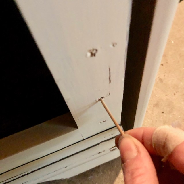 hole repair for hinges