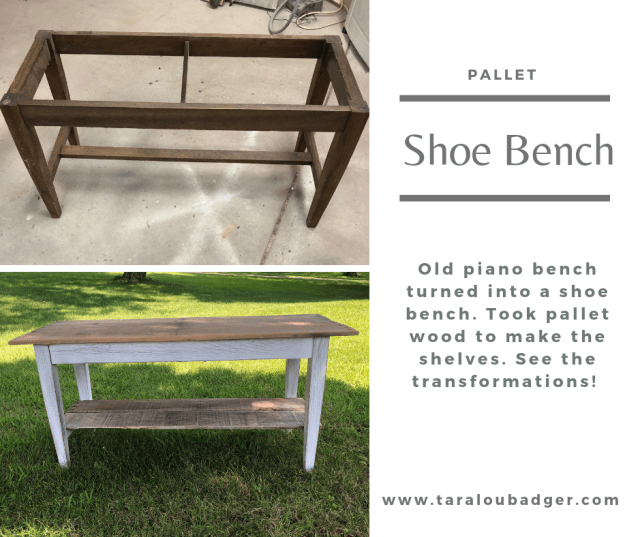 Piano bench turned shoe bench