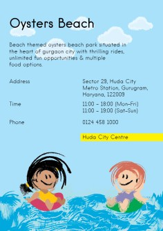 Oysters Beach is a beached theme park situated in the heart of gurgaon city with thrilling rides, unlimited fun opportunities and multiple food options.