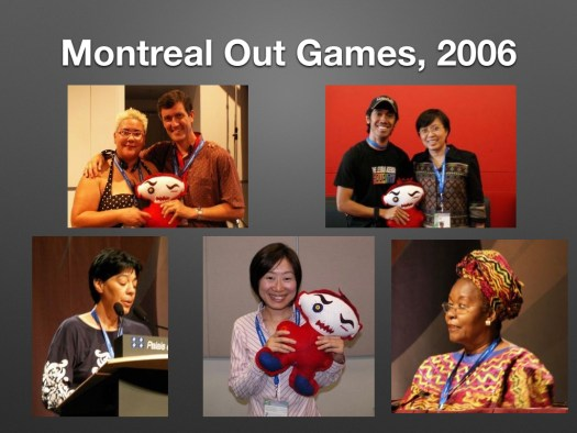 5 different photos of participants from around at the world at the Workers Out human rights conference