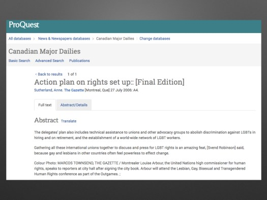 """screenshot of ProQuests' Canadian Major Dailies datatbase with """"Action plan on rights set up [Final Edition]"""" article"""