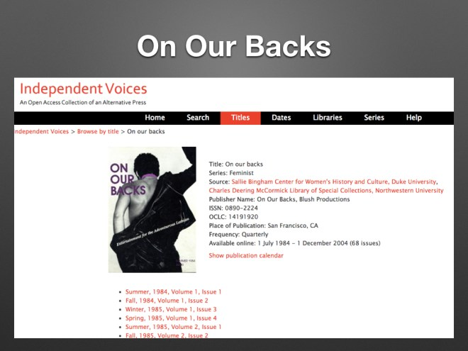 screenshot of On Our Backs in Reveal Digital's Independent Voices collection