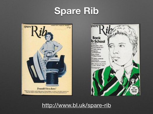 2 covers of Spare Rib magazine. Left one shows a woman standing behind giant photos of an iron, teapot and spool of thread. Right: illustration of a short haired woman with her hand resting on her chin