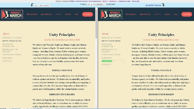 screenshot showing changes to Women's March Unity Principles using Versionista