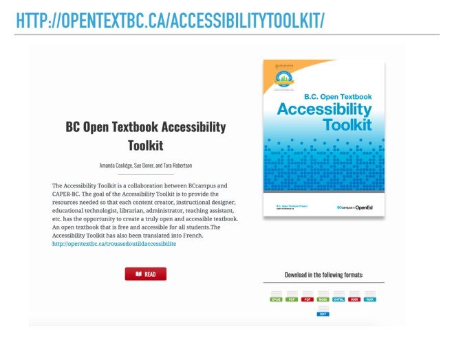 Screenshot of http://opentextbc.ca/accessibilitytoolkit/