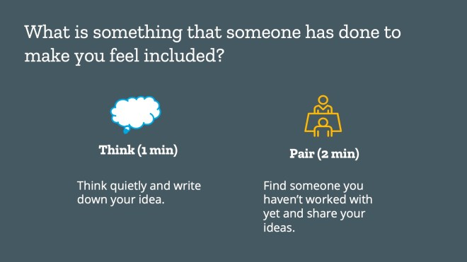 Think (1 min) Think quietly and write down your idea. Pair (2 min) Find someone you haven't worked with yet and share your ideas.