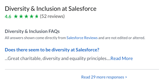 screenshot of Greenhouse's interface: Diversity and Inclusion at Salesforce 4.6 out of 5 (52 reviews)