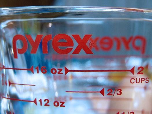 closeup of a Pyrex measuring cup