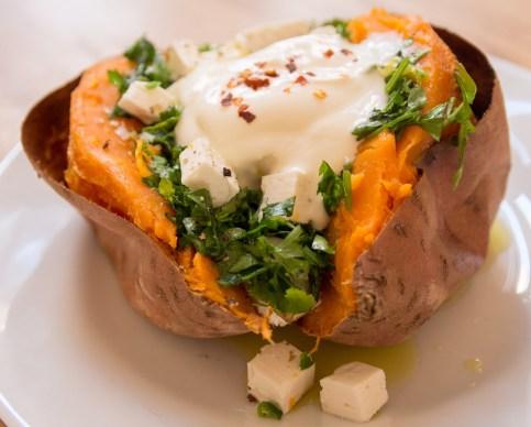 Baked Sweet Potato with Gremolata, Feta Cheese and Sour Cream