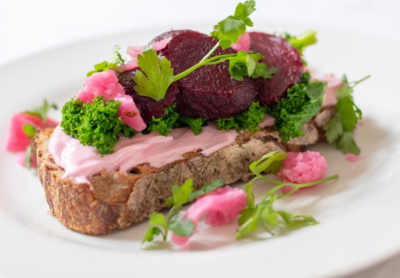 Easy Brunch - Beetroot Cream Cheese and Leafy Greens on Toast