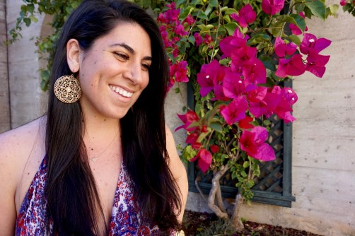 Genna DeFalco, 21, beautifully smiling at a garden in the Lightner Museum on Sunday, February 27, 2017 in St. Augustine, Florida. Genna is from Vero Beach, Florida and is a Psychology major at Flagler College. She wants to become a speech methodologist subsequently after finishing college.