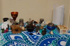 "A pagan altar owned and arranged by Alicia Simpson, 20, in her dorm room at Flagler College in St. Augustine, Florida on Wednesday, April 12, 2017. When asked what paganism is, Simpson described it as, ""It is a combination of the masculine and the feminine. A lot of today's religions are only masculine, but this religion places even more emphasis on the feminine. It's just more balanced than any other religion."""