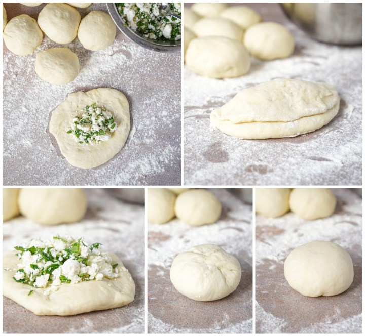 Forming the Peynirli Poğaça (Turkish Cheese Buns)- covering each roll with cheese mixture and enclosing.
