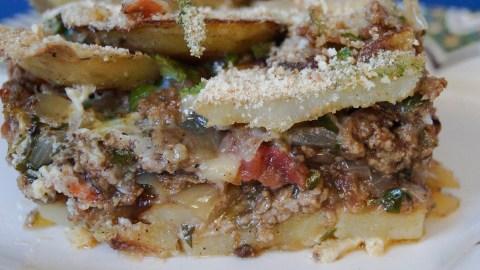 Mubattan Kusha (Libyan Layered Potato and Meat Casserole)
