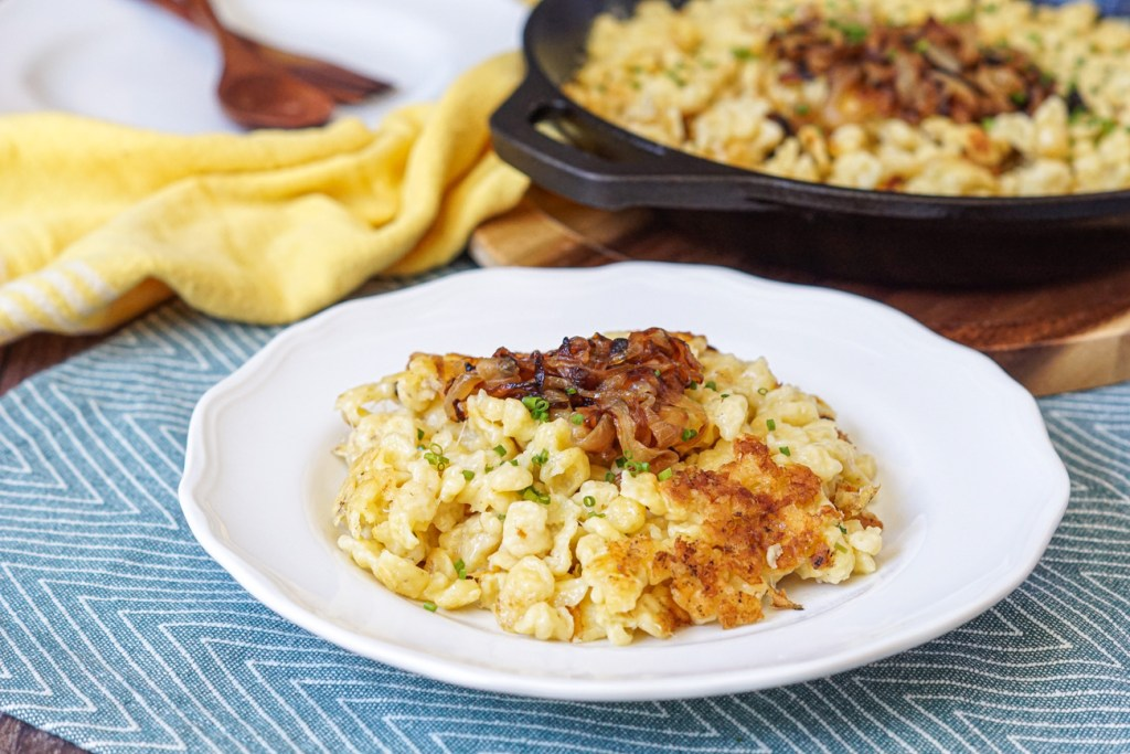 Kasnocken (Austrian Dumplings with Cheese and Onions) on a plate