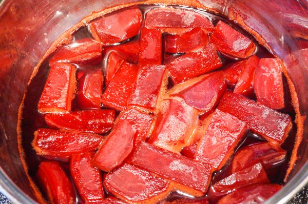Simmer until beets are tender and water is red