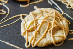 White Chocolate Cookies with Peanut Butter Drizzle