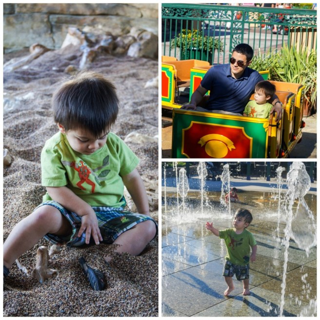 Collage of boy playing in sand pit, water fountain, and sitting on toy train.