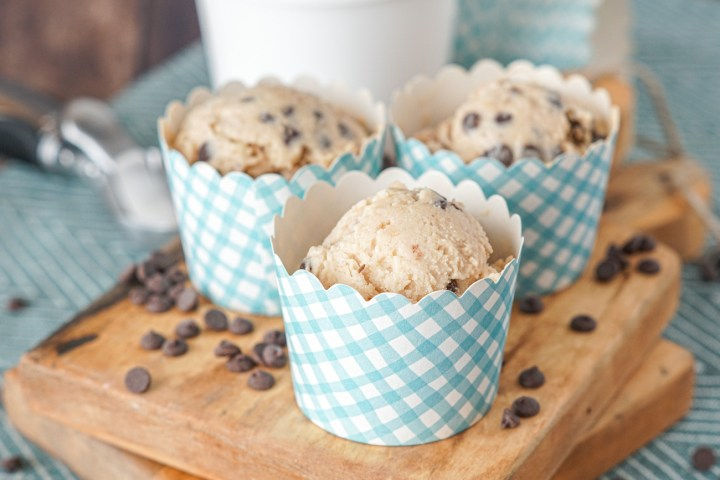 Scoops of Chocolate Chip Cookie Dough Frozen Yogurt