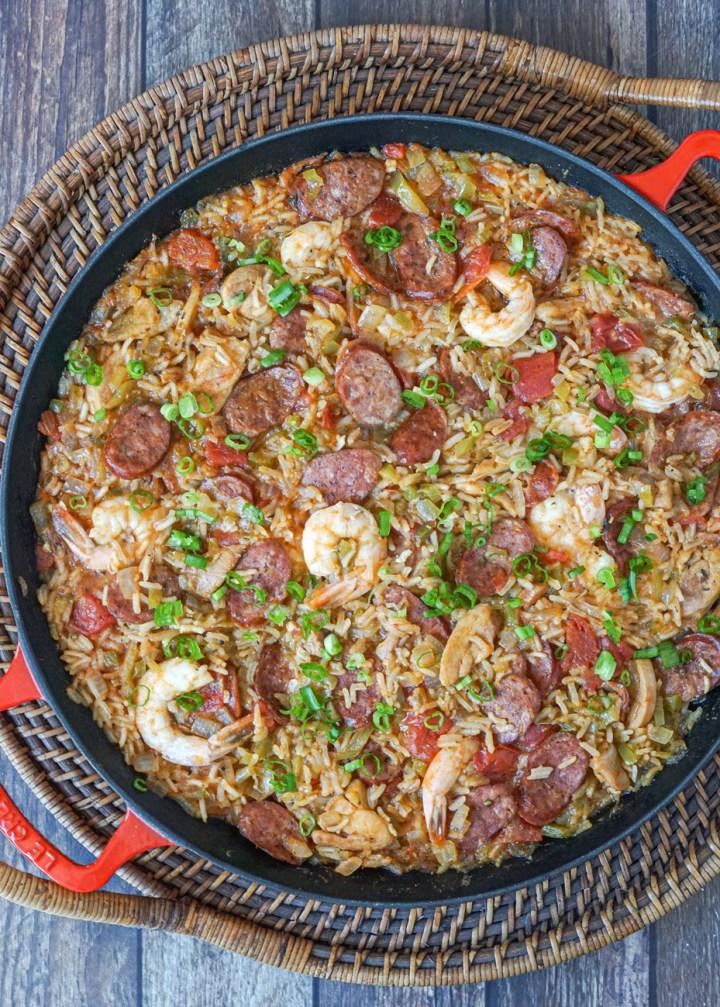 Creole Jambalaya in a pan