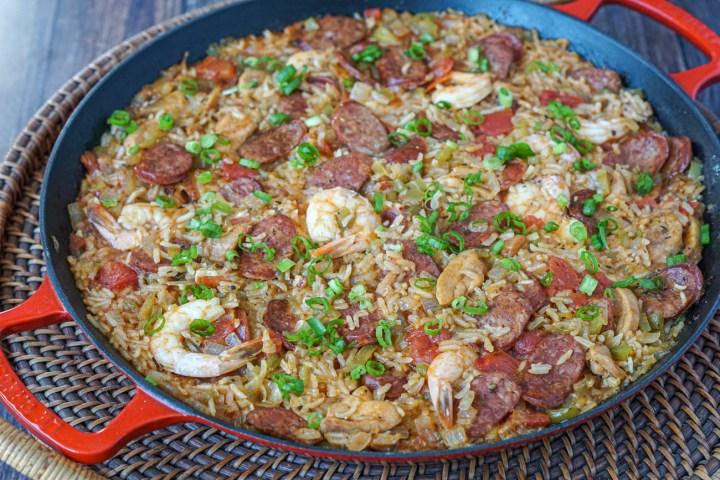 Creole Jambalaya with chicken, sausage, and shrimp