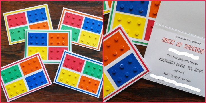 Lego invitations with bright lego bricks made of cardstock on the front.