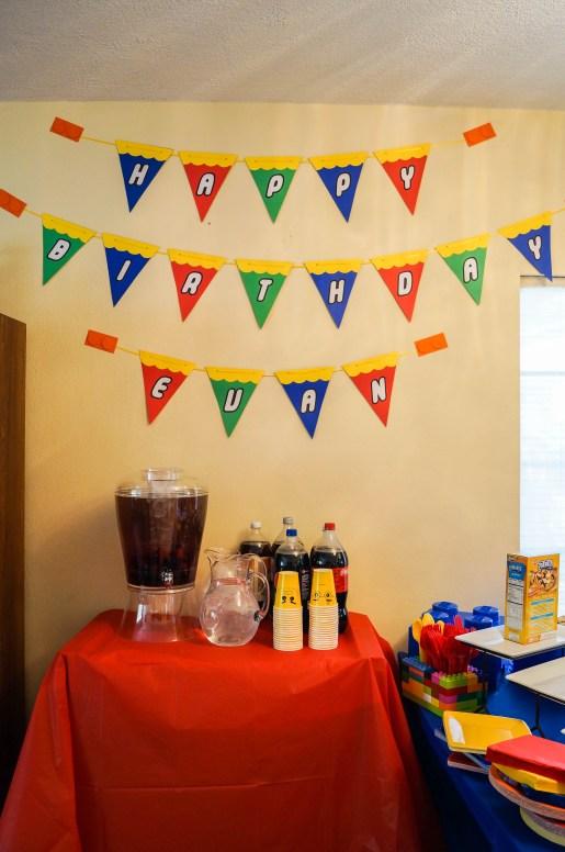Lego Birthday Banner that says Happy Birthday Evan.