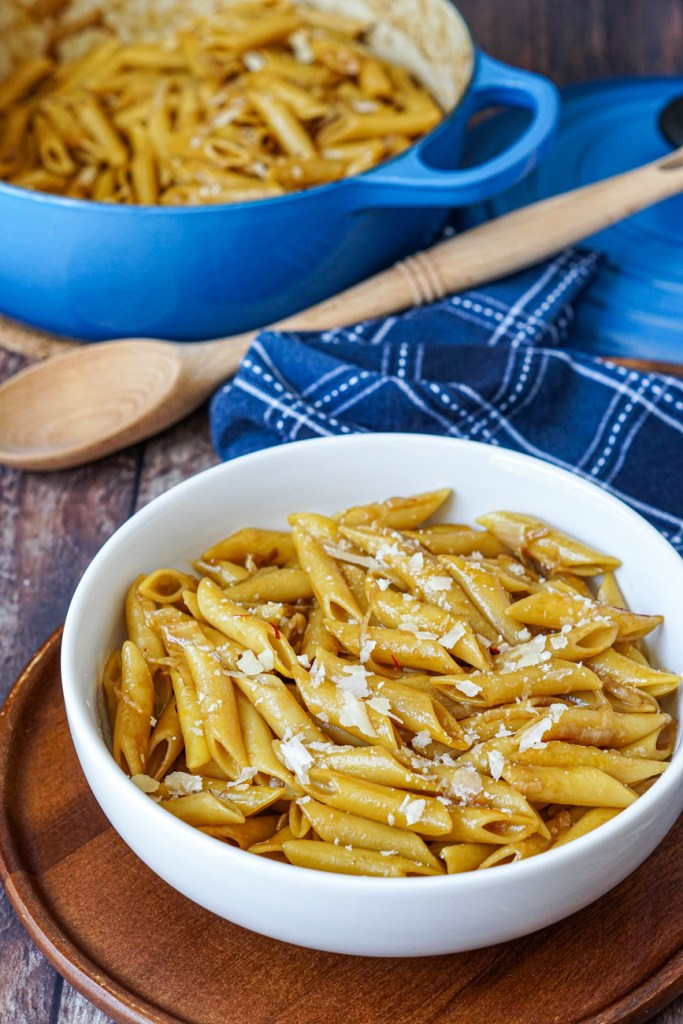 Penne Gialle (Penne with Saffron) in a bowl