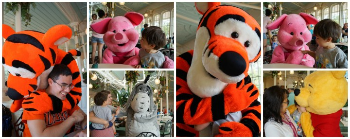 Meeting Tigger, Piglet, and Eeyore at Crystal Palace in Disney World Magic Kingdom