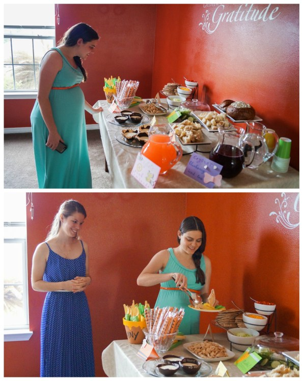 Two photo collage- two women arranging a plate in front of food table.