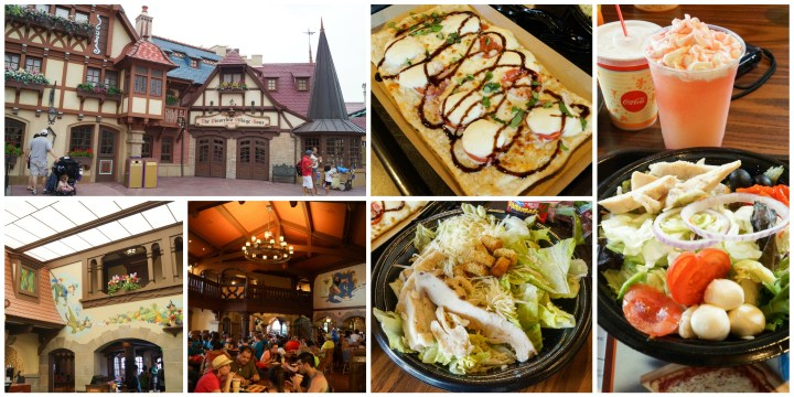 The Pinocchio Village Haus in Disney World Magic Kingdom- Caprese flatbread, salad, and lemonade slush.