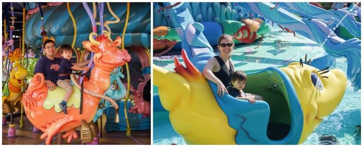 Sitting on carousel and yellow fish ride at Seuss Landing.