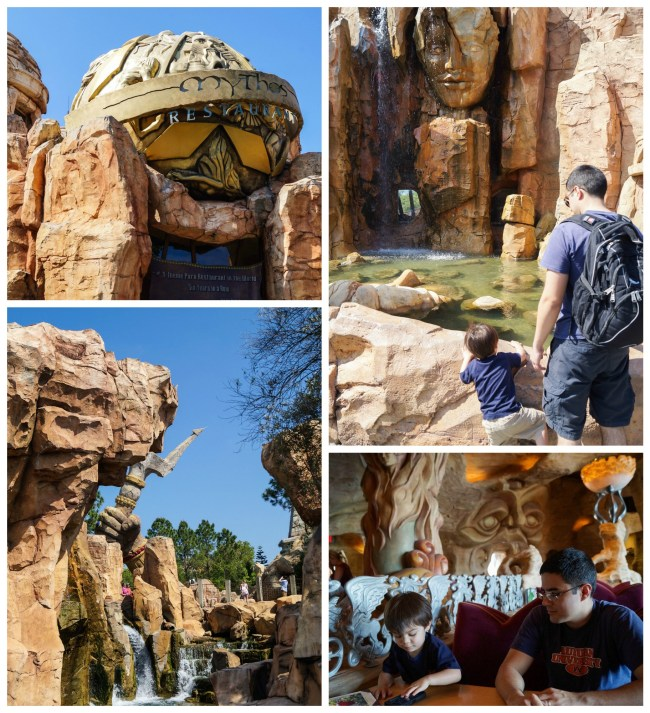 Entrance to Mythos Restaurant with waterfall and sitting at a table inside.