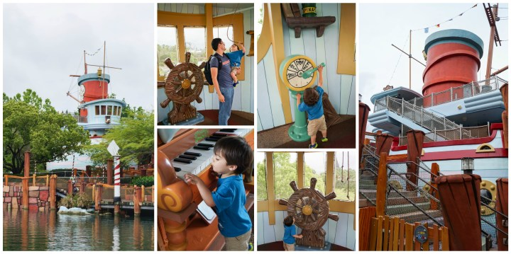 Outside and inside of Me Ship, The Olive in Toon Lagoon with a steering wheel and piano.