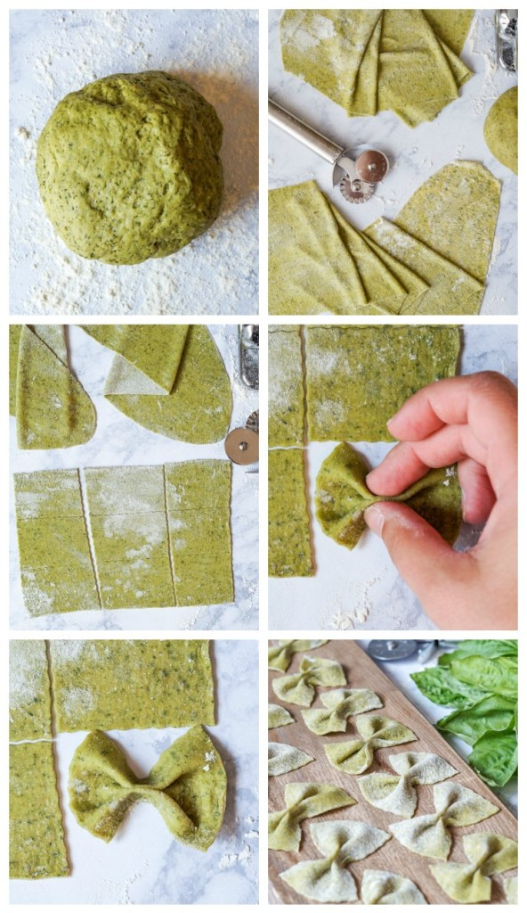 Six photo collage- rolling out the Homemade Basil Farfalle and arranging into bowties.