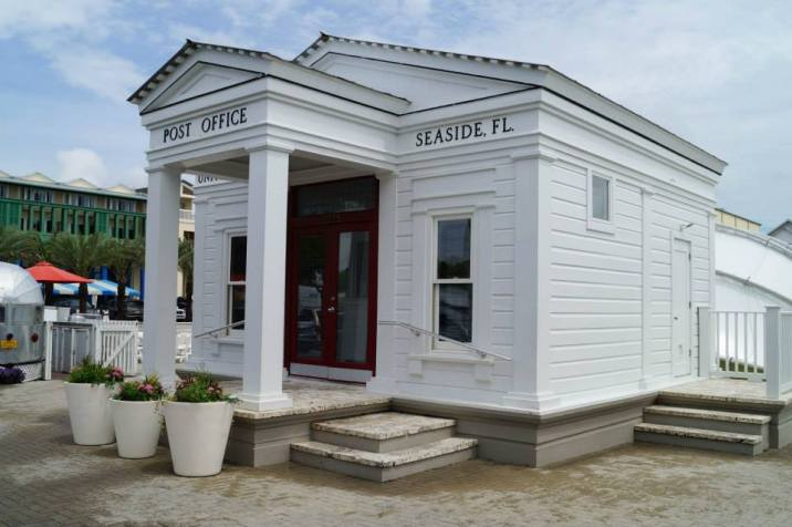 Outside of Seaside Post Office- a small white building.