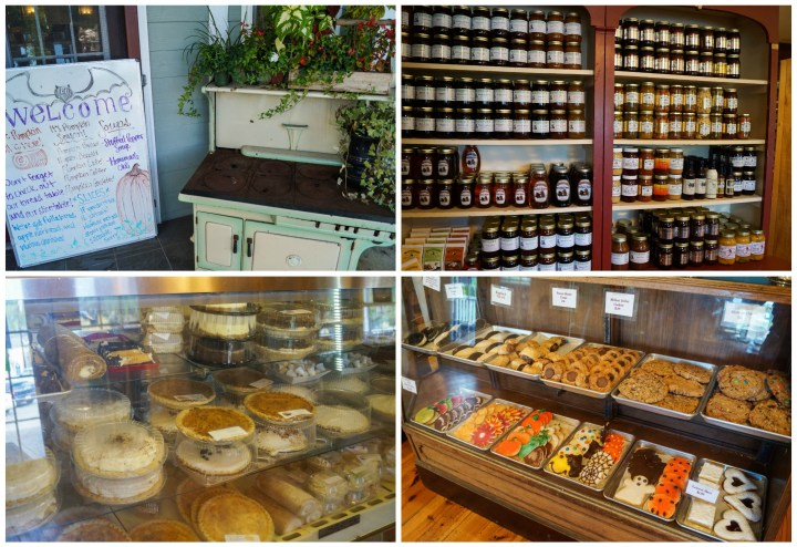 Four photo collage of jams, honey, pies, and pastries on display at Mom's Apple Pie.