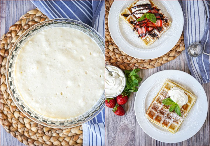 Two photo collage of Gaufre de Bruxelles (Brussels Waffle) batter and two waffles on white plates.